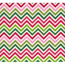 Flannelette Chevron Pink & Green Cotton Fabric