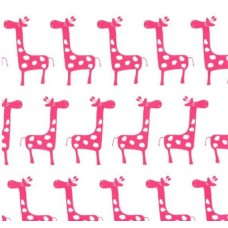 A Giraffe Families Hot Pink on White Home Decor Cotton Fabric