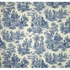 Charmed Life Toile Cornflower Blue and Ivory Home Decor Fabric By Waverly