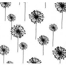 Dandelion in Black on White Home Decor Cotton Fabric
