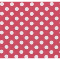 REMNANT - Stretch Cotton Jersey Fabric Polka Dot Pink by Riley Blake