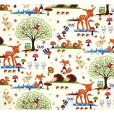 Forest Animal in Cream Cotton Fabric