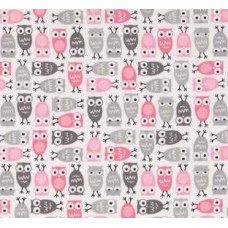Mini Owls in Pink Cotton Fabric by Robert Kaufman