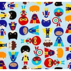Super Kids in Blue Cotton Fabric by Robert Kaufman