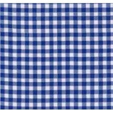 Mexican Oilcloth Laminated Fabric Gingham Royal Blue