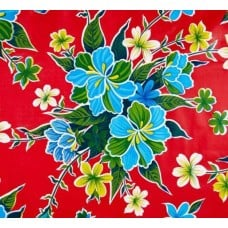 Mexican Oilcloth Laminated Fabric Hibiscus Red