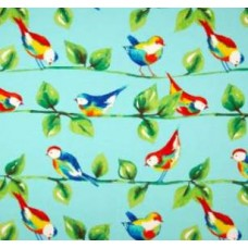 Curious Birds in Blue Outdoor Fabric