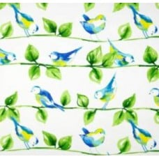 Curious Birds in White Outdoor Fabric