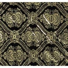 Damask in Black with Metallic Gold Polyester Fabric