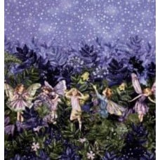 Flower Fairies Blue Cotton Fabric by Michael Miller