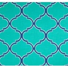 Iron Gates in Lattice Aqua Outdoor Fabric