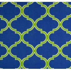 Iron Gates in Lattice Blue Outdoor Fabric