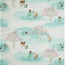 Wee Little Wander Park in Turquoise Cotton Fabric by Michael Miller
