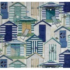 A Day at the Beach in Blue Pool Outdoor Fabric