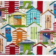 A Day at the Beach Multicolour Outdoor Fabric