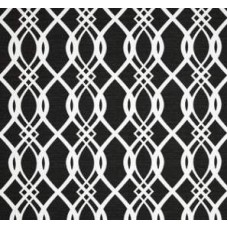 Hedda Lattice Design Outdoor Fabric in Cream and Black