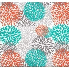 In Bloom Polyester Outdoor Fabric in Orange, Grey and Teal