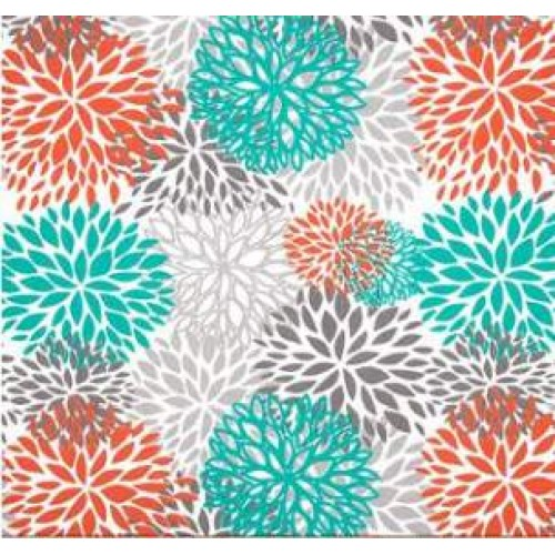 In Bloom Polyester Outdoor Fabric In Orange Grey And Teal