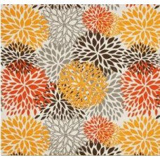 In Bloom Polyester Outdoor Fabric in Tangerine, Orange and Grey