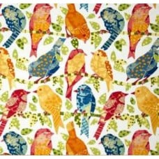 Little Ash Hill Birds in Garden Multi-Coloured Outdoor Fabric