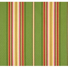 Multicoloured Garden Stripe Outdoor Polyester Fabric in Lime - OFFCUT