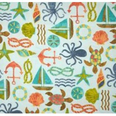 Nautical Outdoor Polyester Fabric in Blue Summer
