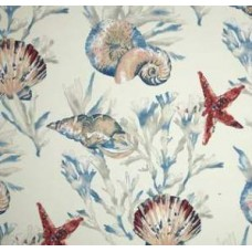 Reef View Outdoor Fabric in Red and Ivory