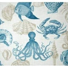 Sealife Outdoor Polyester Fabric in Grey, Turquoise and White