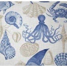 Sealife Outdoor Polyester Fabric in Grey, Blue and White