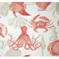 Sealife Outdoor Polyester Fabric in Grey, Coral and White