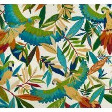 Solar Birds Outdoor Polyester Fabric in Ivory/Multi