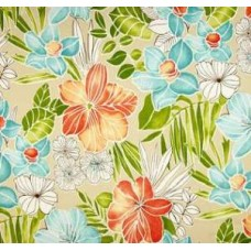 Tropical Floral Opal in Aqua, Orange and Tan Outdoor Fabric