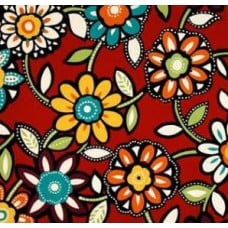 Wilder Cabana Flowers in Red & Multi Outdoor Fabric