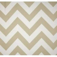 Chevron Stripe Outdoor Fabric in Sand and White