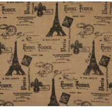 Paris Eiffel Tower Burlap Fabric Black