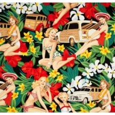 Pin Ups Aloha Girls on Black By Alexander Henry