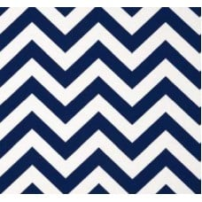 Chevron Stripe Outdoor Fabric in Dark Blue and White