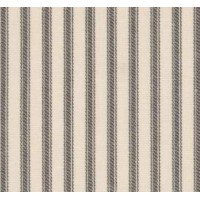 Ticking Stripe Traditional Cotton Fabric Natural Charcoal Ivory