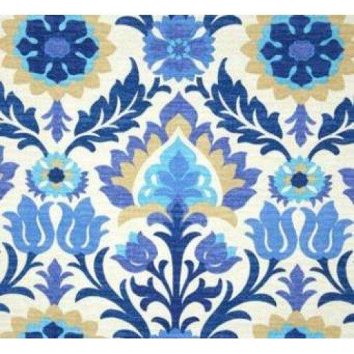 Santa Maria Flowers In The Desert Blue Outdoor Fabric By