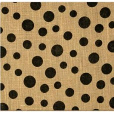 Scattered Dots Natural and Black Burlap Fabric