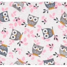 Tossed Owls in Pink Cotton Fabric